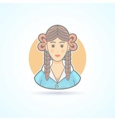 Schoolgirl pupil girl teenager icon vector image