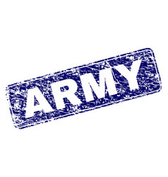 Scratched army framed rounded rectangle stamp vector