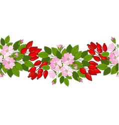 Seamless rose hip ornament a pattern of berries vector