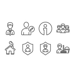 Security businessman and edit user icons vector