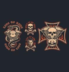 set biker emblems on a dark background vector image