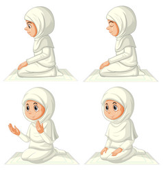 Set different arab muslim girl in traditional vector