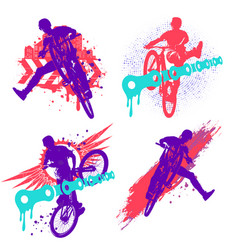 Set dirt jumping silhouette colorful grunge vector