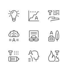 set line icons of copywriting vector image