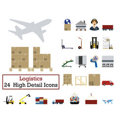 set of 24 logistics icons vector image