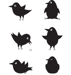 Set of cartoon birds icons vector image
