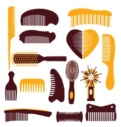 set of combs on a white background vector image