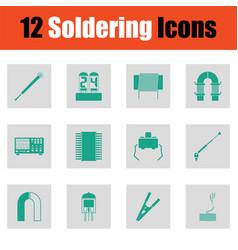 Set of twelve soldering icons vector