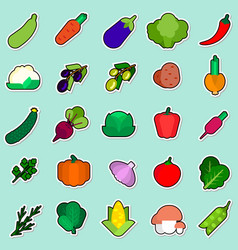 set of vegetables sticker on blue background vector image