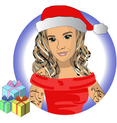 snow maiden in red hat with gifts eps10 vector image