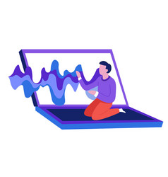 Sound wave music from laptop man sitting vector