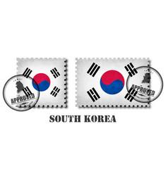 south korea flag pattern postage stamp vector image