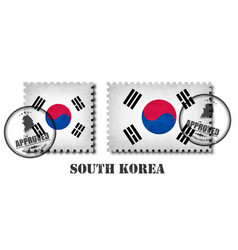 south korea flag pattern postage stamp with vector image