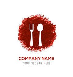 spoon and fork icon - red watercolor circle splash vector image