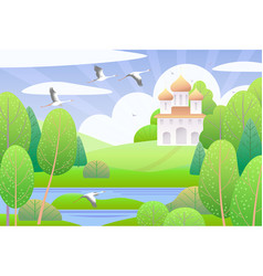 spring scene with church and green trees vector image