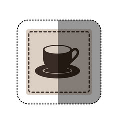 sticker monochrome square with coffee cup vector image