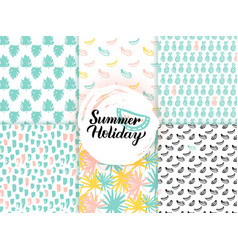 summer trendy seamless patterns vector image