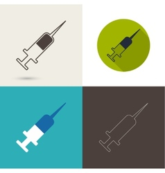 symbol needle and syringe for vaccination vector image