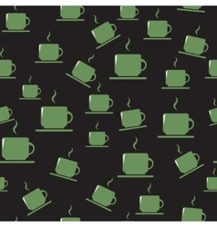 Tea or coffee cups on dark background vector