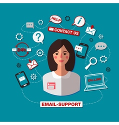 Technical Support Email Online Service Woman vector