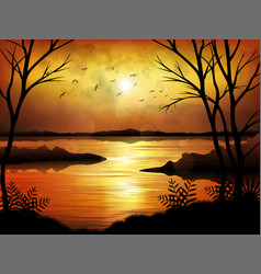 tropical sunset or sunrise with lake background vector image