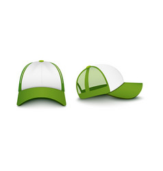 Trucker white cap with visor front and back mockup vector