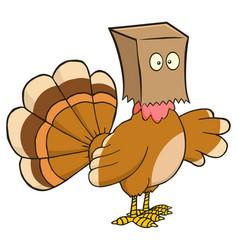 turkey bird character hiding under a bag vector image