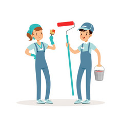 two cheerful volunteers with paint bucket brush vector image