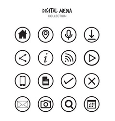 variety multimedia icons set vector image