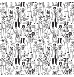 Veterinary people and pets seamless black pattern vector