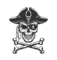 Vintage skull in pirate hat vector