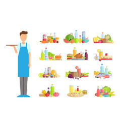 Waiter servant with food options of shop store vector
