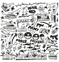 war - doodles collection vector image