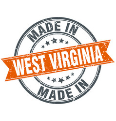 West virginia orange grunge ribbon stamp on white vector
