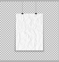 white crumpled paper sheet hanging on isolated vector image