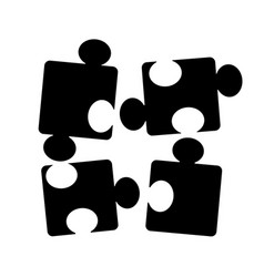 with black puzzle pieces icon isolated on white vector image