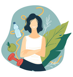 Woman leading healthy lifestyle dieting vector
