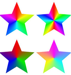 Abstract isolated gradient rainbow star set vector
