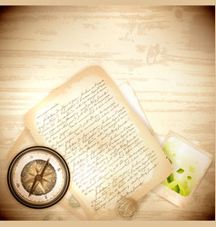 antique compass with old photo and letter vector image