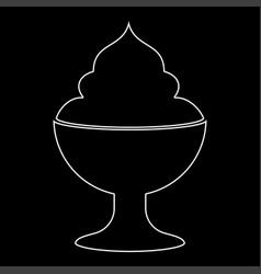 ice cream white color path icon vector image vector image