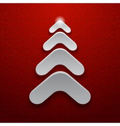 Abstract white christmas tree on red background vector image vector image