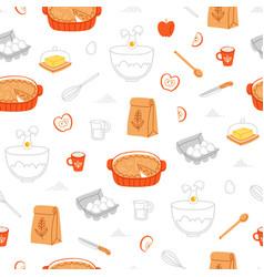 apple pie ingredients pattern vector image vector image