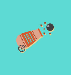 Circus cannon flat icon in sticker style vector