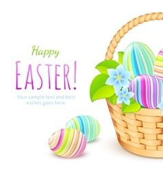 Colorful eggs in basket greeting card template vector image