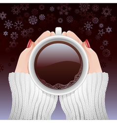 Cup of hot coffee in cold season vector image vector image