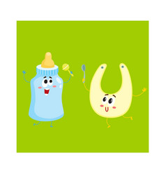 funny milk bottle and baby bib characters child vector image vector image