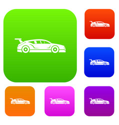 rally racing car set collection vector image