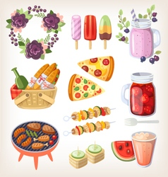 Summer food and recreation elements vector image vector image