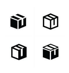 box icons set 4 item vector image