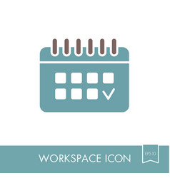 calendar outline icon workspace sign vector image